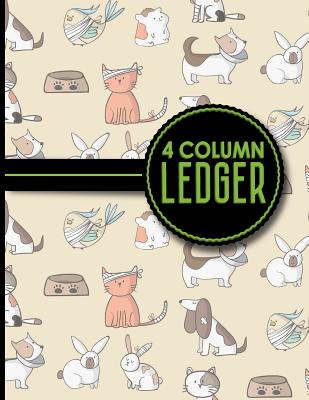 4 Column Ledger: Ledger Books, Accounting Ledger Sheets, General Ledger Accounting Book, Cute Veterinary Animals Cover, 8.5 x 11, 100 pages - Publishing, Moito