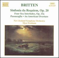 Britten: Sinfonia da Requiem; Four Sea Interludes; Passacaglia - New Zealand Symphony Orchestra; Myer Fredman (conductor)