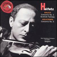 Bruch: Concerto No. 1; Scottisch Fantasy; Vieuxtemps: Concerto No. 5 - Jascha Heifetz (violin); Osian Ellis (harp); New Symphony Orchestra of London; Malcolm Sargent (conductor)