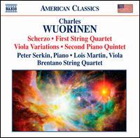 Charles Wuorinen: Scherzo; String Quartet No. 1; Viola Variations; Piano Quintet No. 2 - Brentano String Quartet; Curtis Macomber (violin); Fred Sherry (cello); Jesse Mills (violin); Lois Martin (viola);...