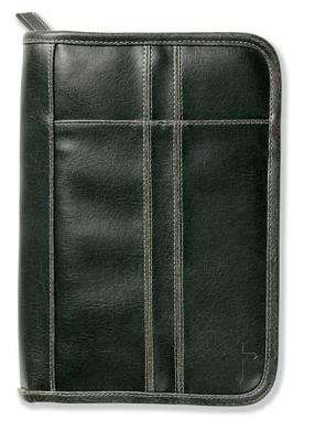 Distressed Leather-Look Black With Stitching Accent Lg - Zondervan