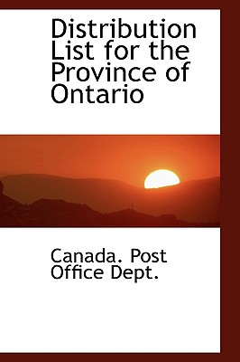 Distribution List for the Province of Ontario - Post Office Dept, Canada