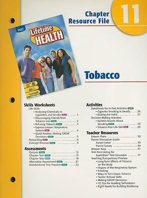 Holt Lifetime Health Chapter 11 Resource File: Tobaccco - Holt Rinehart & Winston (Creator)