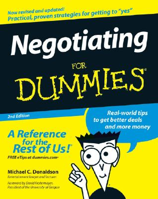 Negotiating for Dummies - Donaldson, and Frohnmayer, David (Foreword by)