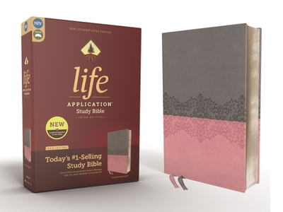 NIV, Life Application Study Bible, Third Edition, Leathersoft, Gray/Pink, Red Letter - Zondervan