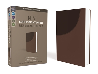 NIV, Super Giant Print Reference Bible, Imitation Leather, Brown, Red Letter Edition - Zondervan