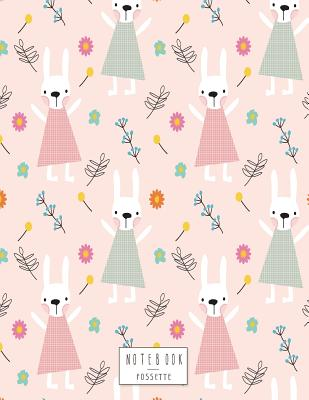 Notebook: Cute bunny on pink cover and Dot Graph Line Sketch pages, Extra large (8.5 x 11) inches, 110 pages, White paper, Sketch, Draw and Paint - Sette, Fos