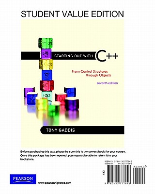 Starting Out with C]+: From Control Structure to Objects, Student Value Edition - Gaddis, Tony