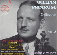 William Primrose Collection, Vol. 3 - Albert Spalding (violin); Andre Benoist (piano); Vernon de Tar (organ); William Primrose (viola); New Friends of Music Orchestra